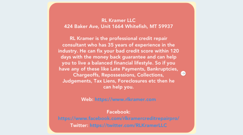Mind Map: RL Kramer LLC 424 Baker Ave, Unit 1664 Whitefish, MT 59937  RL Kramer is the professional credit repair consultant who has 35 years of experience in the industry. He can fix your bad credit score within 120 days with the money back guarantee and can help you to live a balanced financial lifestyle. So if you have any of these like Late Payments, Bankruptcies, Chargeoffs, Repossessions, Collections, Judgements, Tax Liens, Foreclosures etc then he can help you.  Web: https://www.rlkramer.com  Facebook: https://www.facebook.com/rlkramercreditrepairpro/ Twitter: https://twitter.com/RLKramerLLC