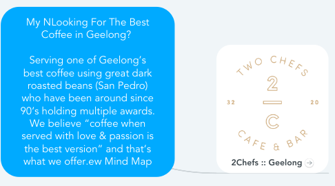 "Mind Map: My NLooking For The Best Coffee in Geelong?    Serving one of Geelong's best coffee using great dark roasted beans (San Pedro) who have been around since 90's holding multiple awards. We believe ""coffee when served with love & passion is the best version"" and that's what we offer.ew Mind Map"