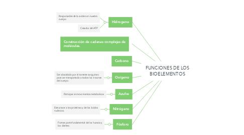 Mind Map: FUNCIONES DE LOS BIOELEMENTOS