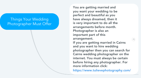 Mind Map: Things Your Wedding Photographer Must Offer