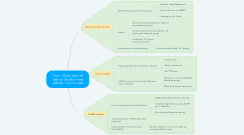 Mind Map: Recent Experience of Service Development and /or Improvement