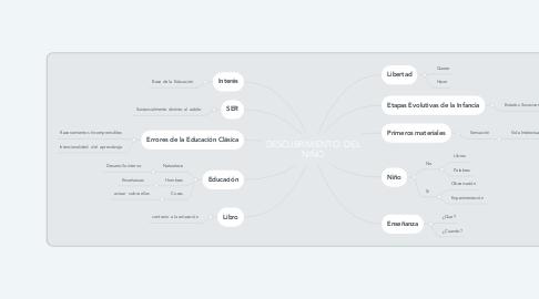 Mind Map: DESCUBRIMIENTO  DEL NIÑO