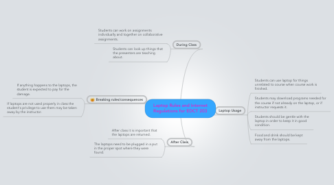 Mind Map: Laptop Rules and Internet Regulations for EDCT 203