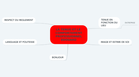Mind Map: LA TENUE ET LE  COMPORTEMENT PROFESSIONNEL EDOUARD