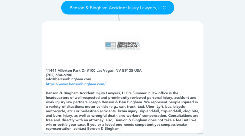 Mind Map: Benson & Bingham Accident Injury Lawyers, LLC