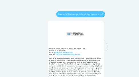 Mind Map: Benson & Bingham Accident Injury Lawyers, LLC