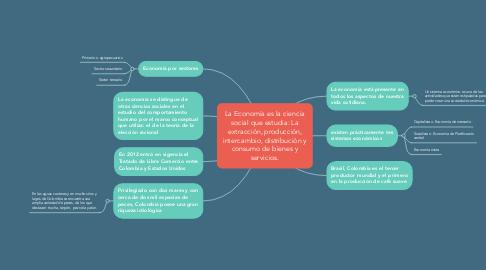 Mind Map: La Economía es la ciencia social que estudia: La extracción, producción, intercambio, distribución y consumo de bienes y servicios.