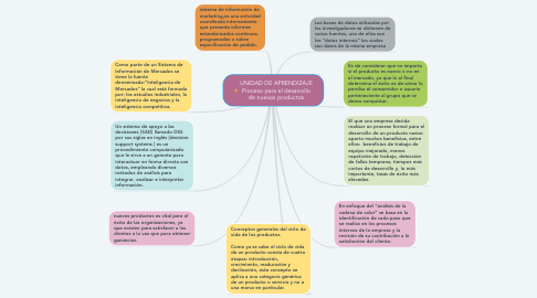 Mind Map: UNIDAD DE APRENDIZAJE Proceso para el desarrollo de nuevos productos