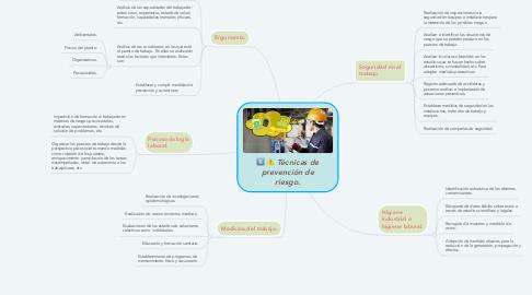 Mind Map: Técnicas de prevención de riesgo.