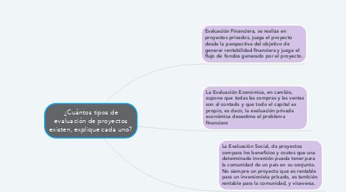 Mind Map: ¿Cuántos tipos de evaluación de proyectos existen, explique cada uno?