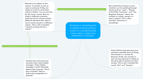 Mind Map: Someone or something that is viewed as being evil by a culture or a society because it has a dark or destructive imagination or purpose.