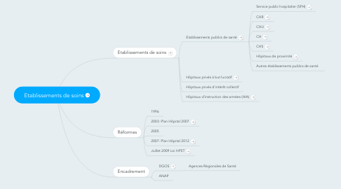 Mind Map: Etablissements de soins