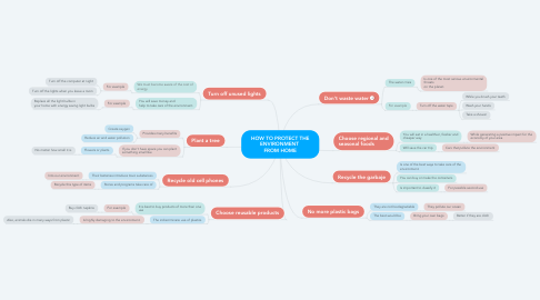 Mind Map: HOW TO PROTECT THE ENVIRONMENT  FROM HOME