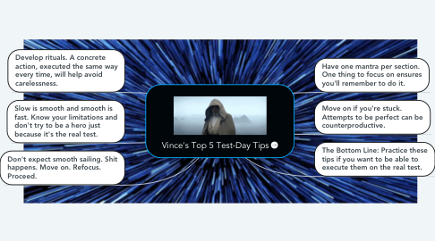 Mind Map: Vince's Top 5 Test-Day Tips
