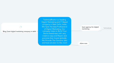 Mind Map: TechnicalRoots is a leading Digital Marketing and IT-Based company in New Delhi, India. We have the best Professional of Digital Marketing, Our company helps to Build Your Brand Awareness with very creative ways and Repair and promote their brand globally. We Provide The Genuine idea and best solution to the client