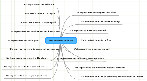 Mind Map: It is important to me to: