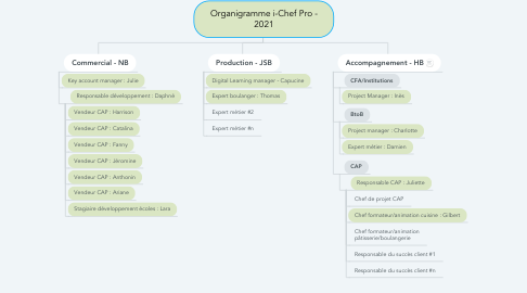 Mind Map: Organigramme i-Chef Pro - 2021