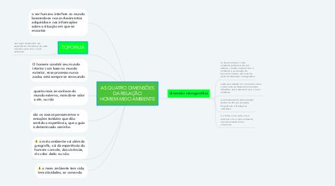 Mind Map: AS QUATRO DIMENSÕES DA RELAÇÃO HOMEM-MEIO AMBIENTE