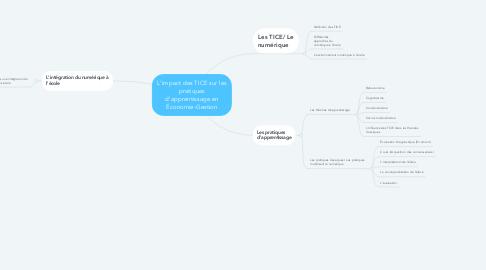 Mind Map: L'impact des TICE sur les pratiques d'apprentissage en Économie-Gestion