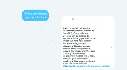 Mind Map: Online enrichment programs for kids