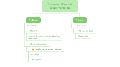 Mind Map: Profession d'avocat  (deux manières)