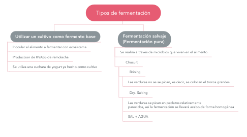 Mind Map: Tipos de fermentación