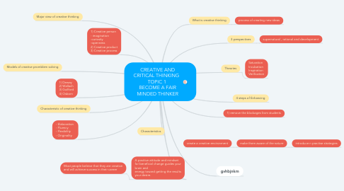 Mind Map: CREATIVE AND CRITICAL THINKING   TOPIC 1  BECOME A FAIR MINDED THINKER
