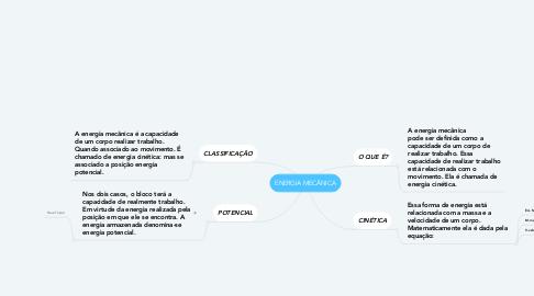 Mind Map: ENERGIA MECÂNICA