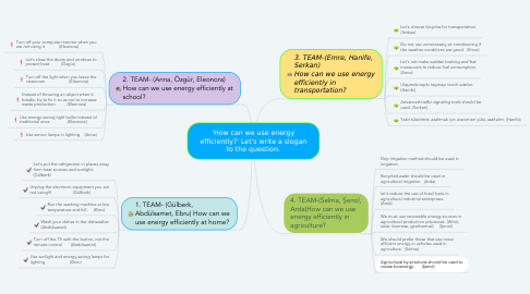Mind Map: 'How can we use energy efficiently?' Let's write a slogan to the question.