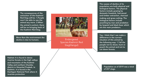 Mind Map: Endangered Species-Kashmiri Red Stag(Hangul)