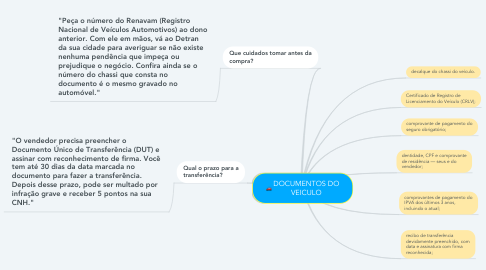 Mind Map: DOCUMENTOS DO VEICULO