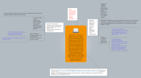 "Mind Map: Importance in Learning and Assessments, we can help in finding out what the children know and what help they might need to improve. ""Ideally, the assessment reflects the most important skills and information to be learned. Creating a valid assessment before beginning to teach the unit ensures that the lesson plans will focus on the most essential elements of the educational objectives. Student learning is enhanced by understanding the importance and life application of the subject, both of which can be underlined during the unit when working toward the culminating assessment.""(Fowler, n.d)"