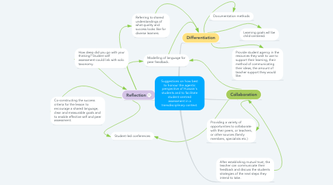 Mind Map: Suggestions on how best to honour the agentic perspective of Hussain's students and to facilitate student-centred assessment in a transdisciplinary context.
