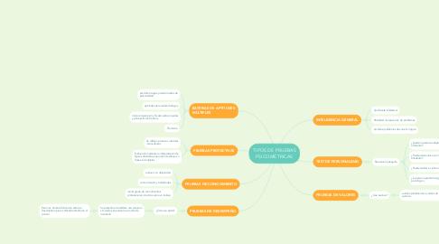Mind Map: TIPOS DE PRUEBAS PSICOMÉTRICAS