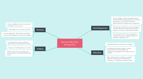 Mind Map: Brennan McCullar Introduction