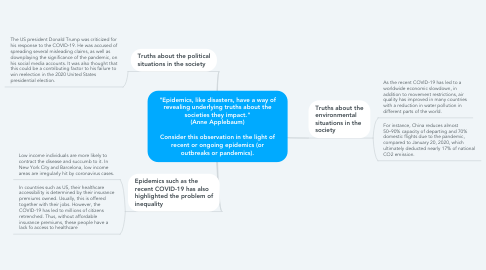 """Mind Map: """"Epidemics, like disasters, have a way of revealing underlying truths about the societies they impact."""" (Anne Applebaum)  Consider this observation in the light of recent or ongoing epidemics (or outbreaks or pandemics)."""