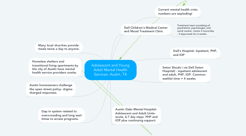 Mind Map: Adolescent and Young Adult Mental Health Services- Austin, TX