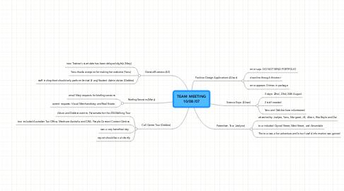 Mind Map: TEAM MEETING 10/08/07