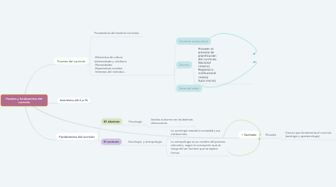 Mind Map: Fuentes y fundamentos del currículo