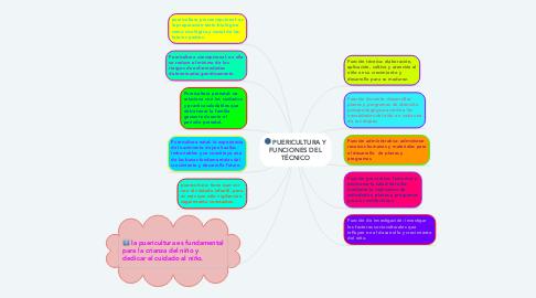 Mind Map: PUERICULTURA Y FUNCIONES DEL TÉCNICO
