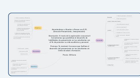 Mind Map: Atreviéndonos a Enseñar a Pensar con E.P.I. (Emoción-Pensamiento_-Interpretación)   Descripción: A través de la exploración conocerás 4 herramientas que posibilitan el desarrollo de habilidades de pensamiento en tus estudiantes con el fin de potenciar su vida académica y personal.    Promesa: Te mostraré 4 recursos que facilitan el desarrollo del pensamiento en tus estudiantes sin limite de edad o formación.  Precio: 30 Euros