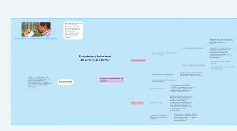 Mind Map: Excepciones y limitaciones del derecho de obtentor