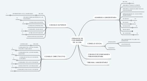 Mind Map: ORGANOS DE COGOBIERNO DE LA UNL