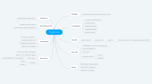 Mind Map: Fotossíntese