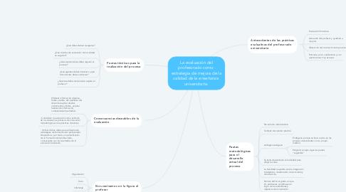Mind Map: La evaluación del profesorado como  estrategia de mejora de la calidad de la enseñanza  universitaria.