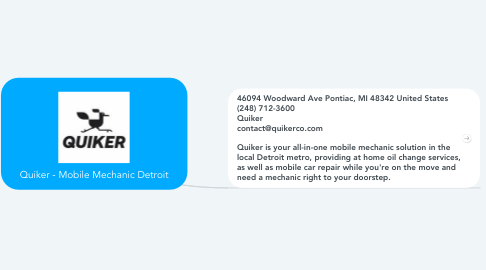 Mind Map: Quiker - Mobile Mechanic Detroit