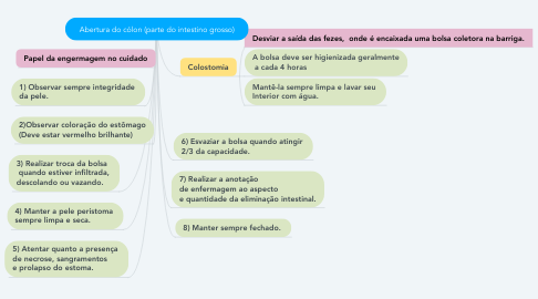 Mind Map: Abertura do cólon (parte do intestino grosso)