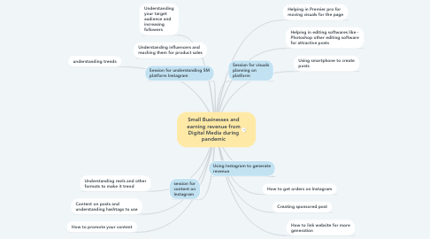 Mind Map: Small Businesses and earning revenue from Digital Media during pandemic