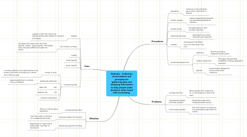 Mind Map: Statistics - Collectionof procedures andprinciples forgathering data andanalyzing informationto help people makedecisions when facedwith uncertainty.