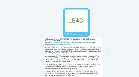Mind Map: LEAD Conveyancing Logan